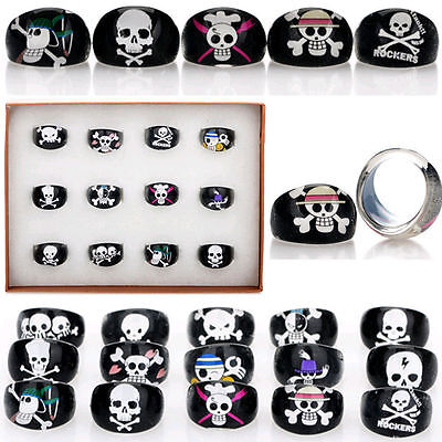 Wholesale Lots 10/20/50pcs Black Skull Animal Children Kid Resin Lucite Rings