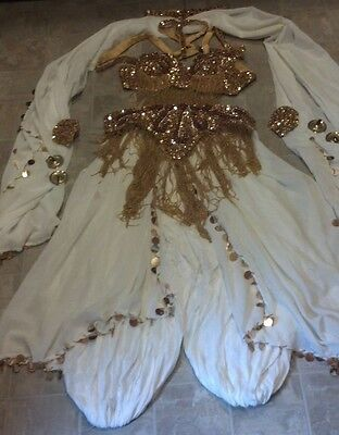13 Piece Professional Turkish White & Gold Beaded Belly Dancer Costume & Symbols
