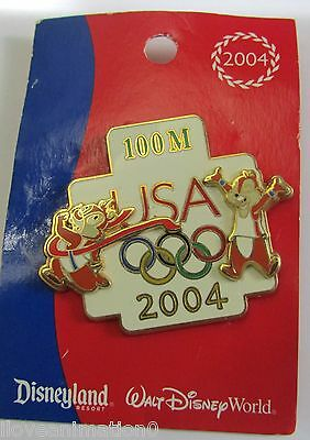 Disney Decathlon Pin Pursuit USA Olympic Logo Chip & Dale 100M Pin