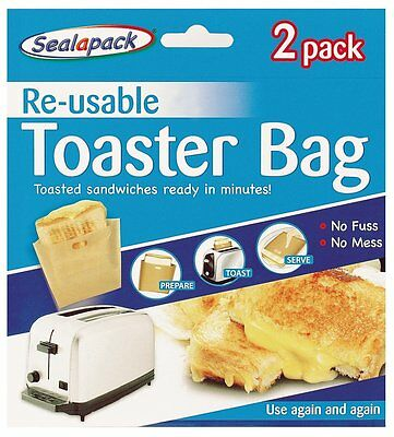 4 Pack Reusable Toaster Toastie Sandwich Toast Bags No Mess