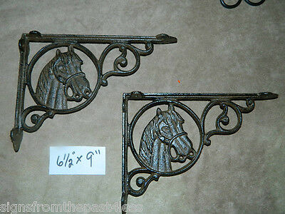 "Set/2 ~9"" Rustic Cast Iron Horse Head Shelf Support Wall Brackets Western Lodge"