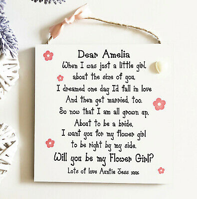 Be My Flower Girl Gift Personalised Wedding Proposal Plaque Wooden Card W145