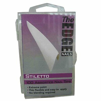 100 THE EDGE STILETTO FRENCH  WHITE WELL-LESS NAIL TIPS  acrylic gel