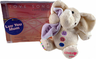 Mothers Day Gift Set  - Love Songs CD / Elephant MUM Pink Blanket Plush Toy