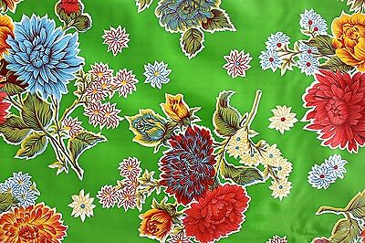 Green Mum Flowers Mexican Oilcloth Tablecloth PVC Cotton Waterproof 50 X 120 Cm