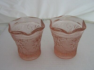 Exclusive Peach Tiara Sandwich Glass 2 pc. Candle Holder Set by Indiana Glass