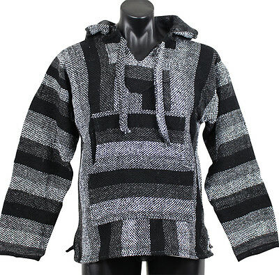 Genuine Black & Grey Mexican Baja Hoodie Surfer Pullover Poncho Size Large L