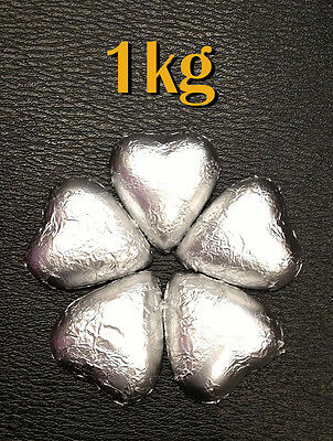 Fyna Milk Chocolate Heart Silver  - 1kg (approx 125 pieces)