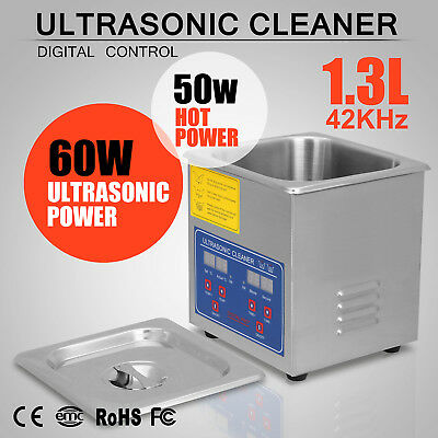 1.3L Strong Digital Stainless Cleaner Ultra Sonic Bath Cleaning Tank Timer Heate