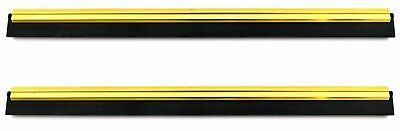 """PROFESSIONAL 2x Brass & Rubber Channel WINDOW CLEANER BLADE 300mm 12"""" 5Yr"""