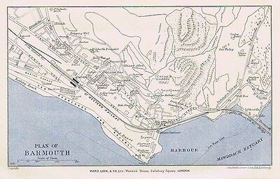 BARMOUTH Street Plan / Map of the Town - Vintage Map 1937