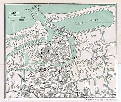 CALAIS Street Plan / Map of the Town - Vintage Folding Map 1935