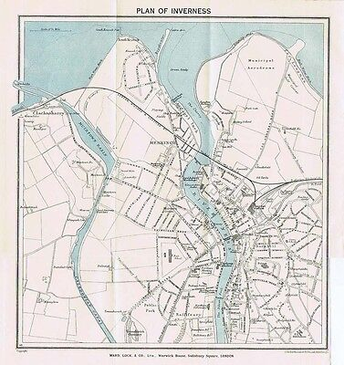 INVERNESS Street Plan / Map of the Town - Vintage Folding Map 1939
