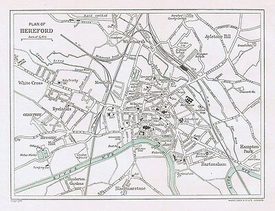 HEREFORD Street Plan / Map of the Town - Vintage Folding Map 1938