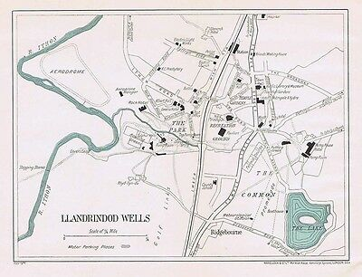LLANDRINDOD WELLS Street Plan / Map of the Town - Vintage Folding Map 1938