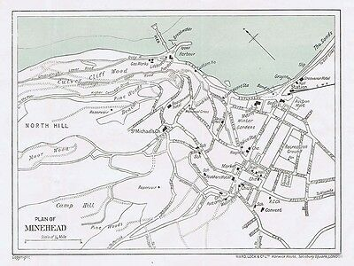 MINEHEAD Street Plan / Map of the Town - Vintage Folding Map 1936