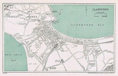 LLANDUDNO Street Plan / Map of the Town - Vintage Folding Map 1938