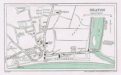 SEATON Street Plan / Map of the Town - Vintage Folding Map 1937