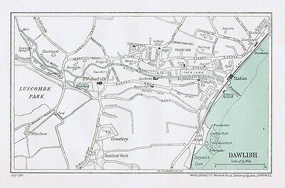 DAWLISH Street Plan / Map of the Town - Vintage Map 1935