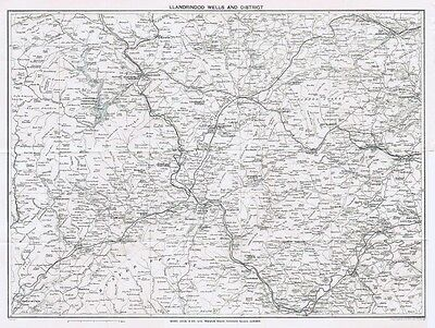 LLANDRINDOD WELLS & District - Vintage Folding Map 1932