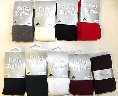 3 Pairs Cotton Rich Girls School Tights nifty Ages New Born to 13 Years