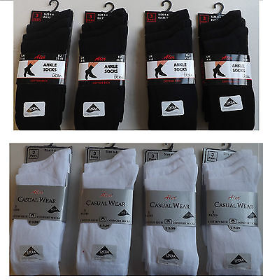 6 Pairs Ladies Girls  Woman Cotton Blend Plain Black White Lycra Socks Size 4-6
