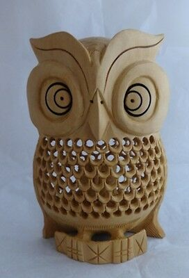 """HAND MADE WOODEN OWL BABY OWL INSIDE 5 x 4"""" WOOD SCULPTURE INDIA"""