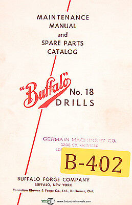 15 Maintenance and Spare Parts Manual 1959 Drills before 1957 Buffalo No