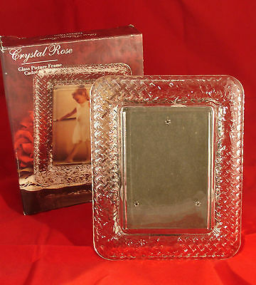 "Indiana Glass - Glass Picture Frame ""Crystal Rose"" - Holds 3 1/2"" x 5"" Photo"