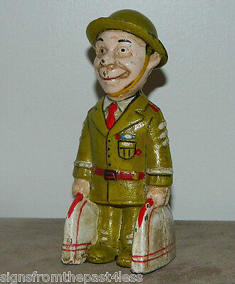 "6"" Smiling Soldier Penny Dime Cast Iron Standing Bank"
