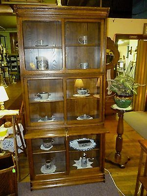 antique oak bookcase Stack barrister Danner tiger quartersawn Refinished Curio