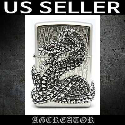 New Japan Kore zippo lighter snake nickel polish emblem US SELLER