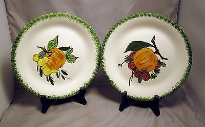 """*2* BLUE RIDGE """"COUNTRY FAIR"""" PEACH PLATES WITH GRAPES AND STRAWBERRIES 8&3/8"""""""