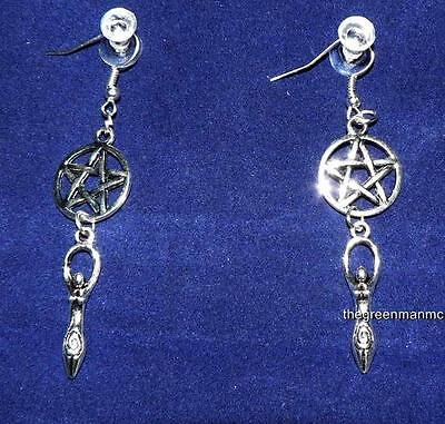 Pentacle/Pentagram Spiral Goddess Earrings, Pagan, Wicca, Celtic, Witchcraft