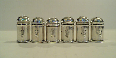 Wonderful Set / 6 Antique Sterling Silver Individual / Miniature Pepper Shakers