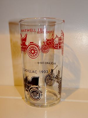 Vintage Classic Antique Cars Automobile Drinking Glass Tumbler Packard Cadillac