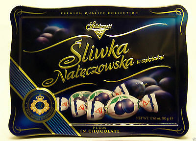 Solidarność Chocolates with Candied Plum in Cocoa Cream, 500g in Tin