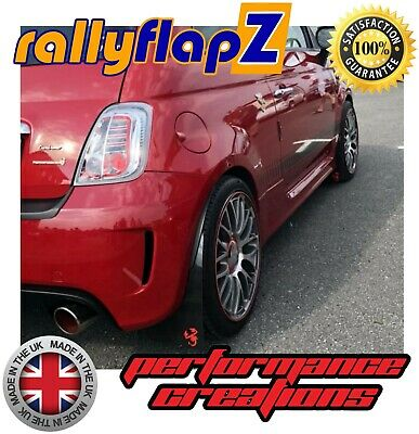rallyflapZ FIAT 500 ABARTH (2008+) Black 4mm PVC Mud Flaps Scorpion Logo Red