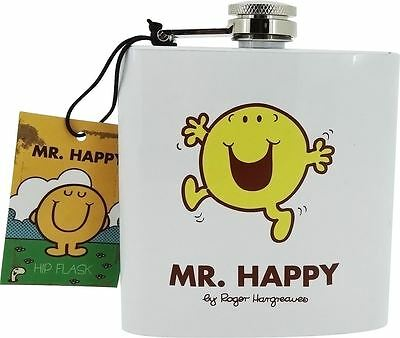 Me Men - Mr Happy Character Stainless Steel 6oz Hip Flask PHD2451