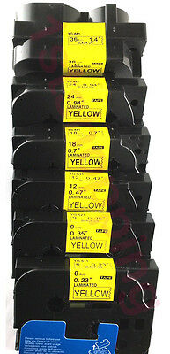 compatible for brother P-touch TZe Tz black on yellow label tape all size
