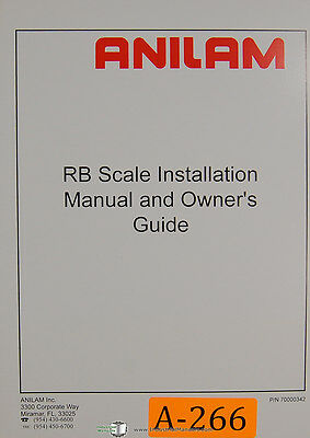 Anilam RB Scale Installation and Owners Manual 1996