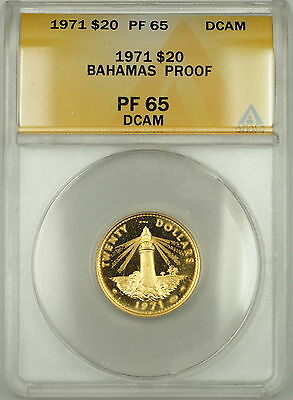 1971 Bahamas Proof $20 Dollar Gold Coin ANACS PF-65 DCAM Deep Cameo