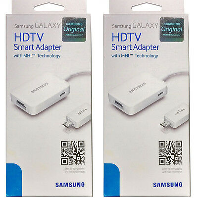 Set of 2 Genuine Authentic Samsung HDMI Adapter Galaxy S4 S5 Note 3 4 MHL HDTV