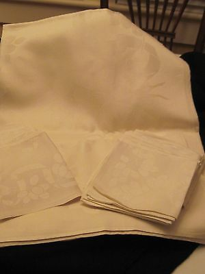 Estate Damask Linen Banquet Size Tablecloth and 12 Napkins - Early 1900's