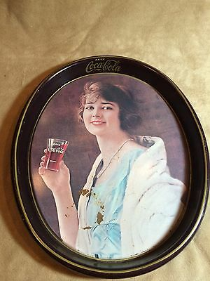 """Vintage~1973~Coca Cola~Oval~Serving~Tray~15""""x12"""" x1.5""""~Advertising~"""