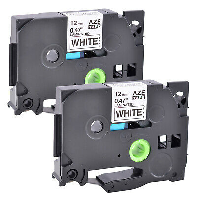 2 Pack Black on White Label Tape 12mm For Brother TZ 231 TZe 231 P-Touch PT-D210