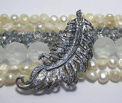 JEWELRY MAKING SUPPLIES LOT~WHITE BEADS MIX~QUILL FEATHER~FRESHWATER PEARLS~