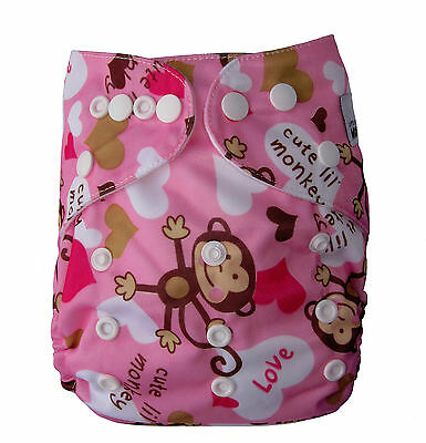 Reusable Modern Cloth Nappies Diaper Modern One size fits all Girl Monkey