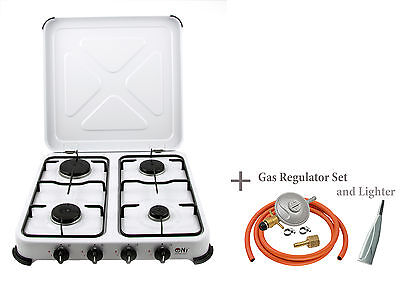 NJ-04 Gas Stove 4 burner Portable Cooker Camping Cooktop Lid Outdoor Hob 5.45kW