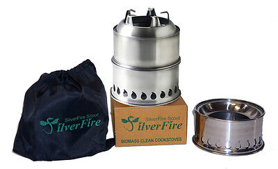 SilverFire Scout Stove Portable Wood Burning Gasifier Camping Picnic Net Bag NEW